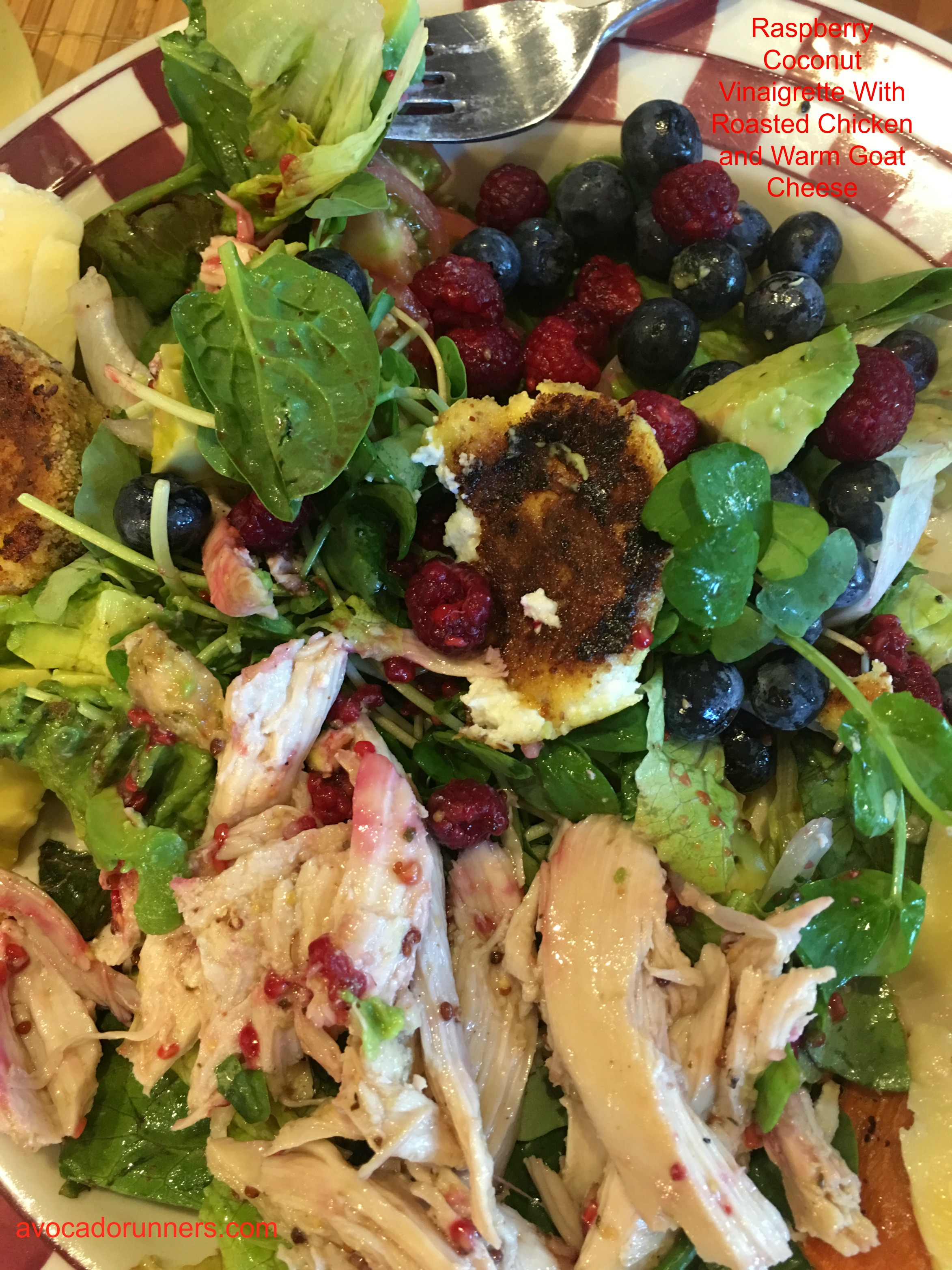 Raspberry Coconut Vinaigrette with Roasted Chicken and Warm Goat Cheese